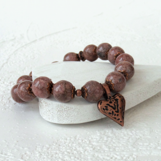 Rhodonite bracelet with copper heart charm - perfect Valentine present