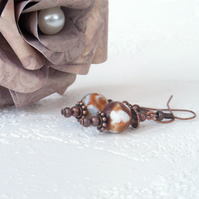Caramel and white agate and copper earrings