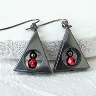 Triangle hematite earrings with red crystal