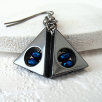 Hematite and metallic blue crystal triangular earrings