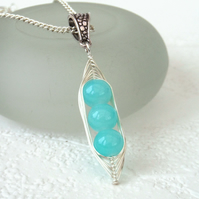 Turquoise blue 'Peas in a Pod' necklace - other sizes & colours available