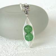 Green jade 'Peas in a Pod' necklace - can be personalised for you