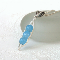 Blue jade 'Peas in a Pod' necklace - other colours and sizes available