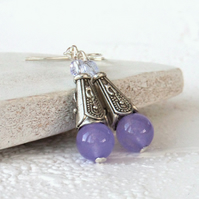 Pastel purple jade earrings with lilac crystals