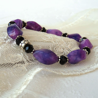 Purple jasper and black crystal stretchy bracelet