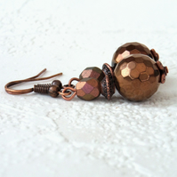 Copper earrings with copper colour crystal
