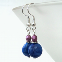 Blue gemstone coin & pink crystal earrings