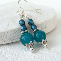 Turquoise blue jade and crystal earrings