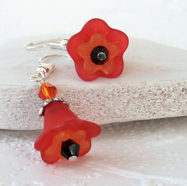 Red, orange & black flower earrings