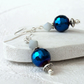 Metallic blue crystal earrings, sparkly earrings, 15th anniversary gift