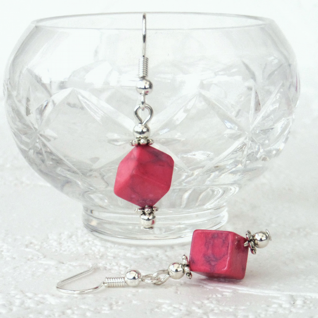 Pink howlite cube earrings, great birthday gift