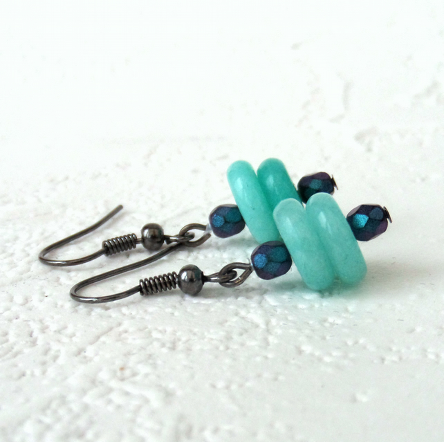 Blue quartz and crystal earrings