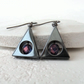 Hematite and amethyst crystal triangular earrings