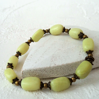 Lemon jade and bronze handmade stretchy bracelet
