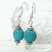 Turquoise coin earrings