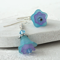 Blue and purple flower earrings, summer earrings