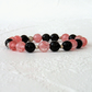 Cherry quartz and black onyx stretchy bracelet, handmade stacking bracelet
