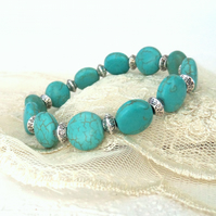 Turquoise blue coin stretchy bracelet