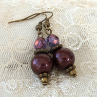 Burgundy shell pearl, crystal & bronze earrings, vintage inspired