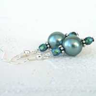 Teal green shell pearl and crystal earrings
