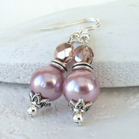 Pink shell pearl and crystal dangly earrings