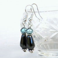 Hematite and aqua crystal drop earrings