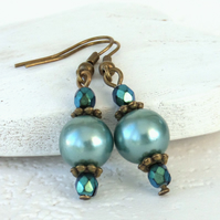 Teal green shell pearl and crystal bronze earrings