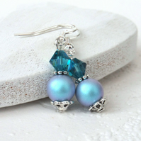 Blue earrings with crystal pearl and crystals by Swarovski