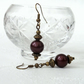 Bronze earrings with burgundy  shell pearl