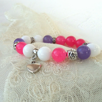 Summer bracelet with heart charm, pink, purple and white stretchy bracelet