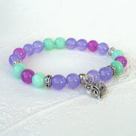 Gemstone bracelet with heart charm, pink, purple and turquoise stretchy bracelet