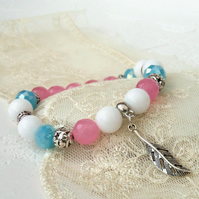 Handmade bracelet with feather charm, pink, blue and white stretchy bracelet