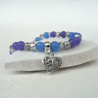 Purple and blue stretchy bracelet, with heart embellishment