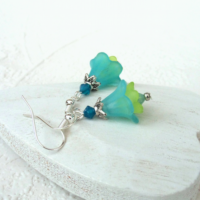 Flower earrings, blue & green earrings, summer earrings