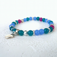 Dainty blue, turquoise & pink stretchy stacking bracelet with heart charm
