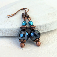 Copper & crystal earrings