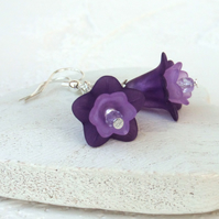 Purple & lilac flower earrings, summer earrings