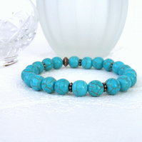 Turquoise blue howlite stretchy bracelet