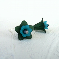 Green & blue flower earrings, handmade earrings