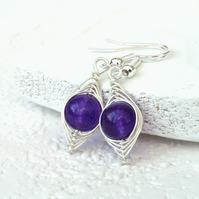 Wire wrapped purple quartz earrings