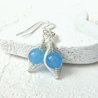Wire wrapped blue quartz earrings