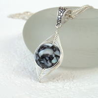 Black shell necklace, wire wrapped necklace