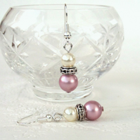 Swarovski® crystal pearl earrings, with blush pink and ivory crystal pearls