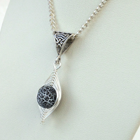 Black and white wire wrapped agate necklace