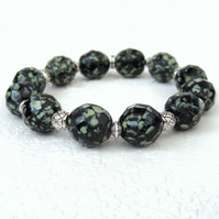 Black and green shell bracelet