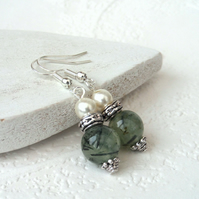 Prehnite dangly earrings with crystal pearl by Swarovski
