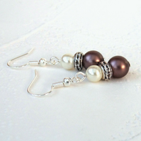 Swarovski® crystal pearl earrings, with brown velvet and ivory crystal pearls