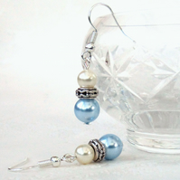 Swarovski® pearl earrings, with pastel blue and ivory crystal pearls
