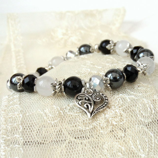 Stretchy monochrome gemstone & crystal bracelet, with heart charm