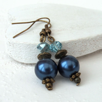Sapphire blue shell and crystal earrings, vintage style earrings